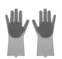Силіконові рукавиці SUNROZ для миття посуду зі щіточкою Сірий SUN2574, КОД: 366911