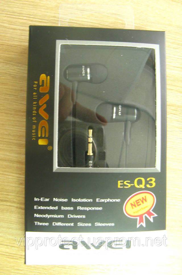 Вакуумные наушники Awei ES-Q3 черные