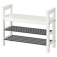 IKEA HEMNES Скамья для обуви, белая, 85x32 см (002.438.00), фото 1