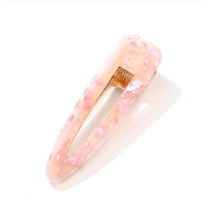 Акриловая заколка для волос, цвет розовый, форма капля