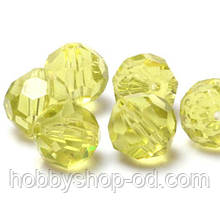 Бусины хрустальные шар 6 мм желтые (72 шт) кр. огранка