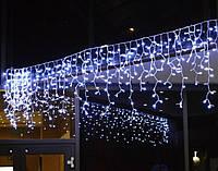 """Уличная светодиодная гирлянда мини-штора """"Занавес/бахрома"""" ,100 лампочек, 3 м, провод белый,свет синий"""