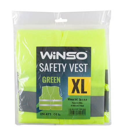 Жилет автомобильный светоотражающий Winso размер XL (зелёный), фото 2