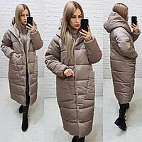Теплое зимнее пальто с капюшоном кофе, арт М500