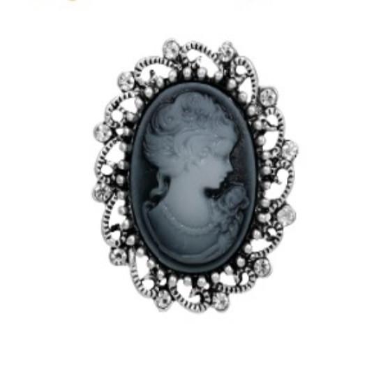 Брошь Vintage Style Камея серая/ цвет серый, основа сталь B004