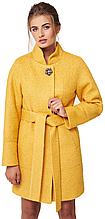 Пальто демисезонное женское NIO Collection Иванка Желтый, букле пальто женское