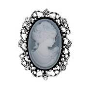 Брошь Vintage Style Камея серая/ цвет серый, основа сталь B006