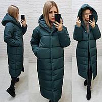 М521 Теплое зимнее пальто кокон с капюшоном, цвет  хвоя, арт