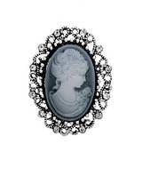 Брошь Vintage Style Камея серая/ цвет серый, основа сталь B012