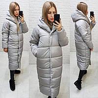Теплое зимнее пальто с капюшоном, цвет серый, арт М521