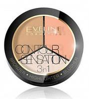 Набор для скульптурирования Eveline Cosmetics Contour Sensation 3in1 02 Peach Beige, КОД: 1089362
