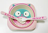 Набор детской бамбуковой посуды Eco Bamboo fibre kids set 3 предмета R83772 Pink gr007479, КОД: 358633