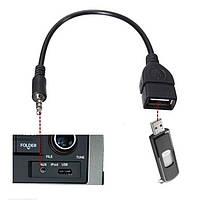 Кабель AUX Аудио 3.5 мм  USB 2.0 (Чёрный) Шнур Переходник