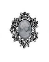 Брошь Vintage Style Камея серая/ цвет серый, основа сталь M09