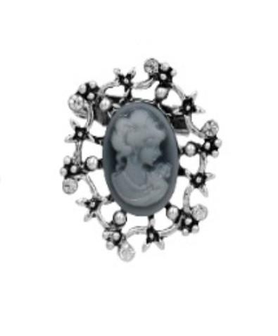 Брошь Vintage Style Камея серая/ цвет серый, основа сталь M10