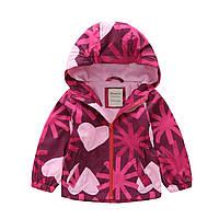 Детская куртка для девочки демисезонная короткая с принтом Сердца Meanbear