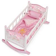 Деревянная кровать для куклы Kronos Toys 54523 Бело-розовый int54523, КОД: 961401