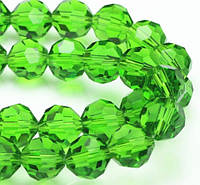 Бусины хрустальные шар 6 мм зеленые (72 шт) кр. огранка