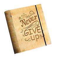Блокнот Ben Wooden из дерева ручной работы А6 90 листов Никогда не сдавайся BW01222, КОД: 1317088