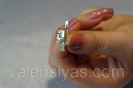 Серьги из серебра 925 с золотом и камнями, фото 2