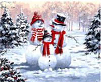 """Картина по номерам 9504 """"Семья снеговиков"""" 40х50см, набор краски акрил, кисть -3шт"""