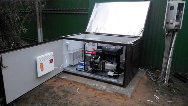 Установленный генератор и блок АВР