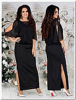 Оригинальное черное платье с шифоном и люрексом 48 50 52 54