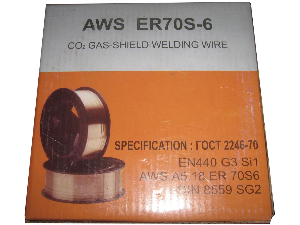Проволка сварочная омеднённая AWS ER70S-6 0,8 мм, 15 кг