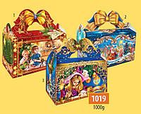 Новогодняя подарочная коробочка для конфет и сладостей 1000гр №1019 170шт/ящ КД.