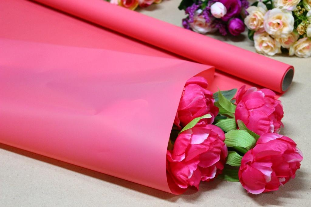Калька для цветов - матовая флористическая пленка 70см*10м Коралловая