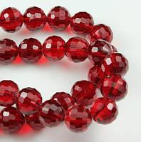 Бусины хрустальные шар 6 мм т. красные (72 шт) мелк. огранка