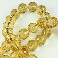 Бусины хрустальные шар 6 мм т. медовые (72 шт) мелк. огранка