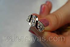Серебряное кольцо с золотом и камнями