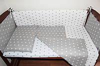 Постельный комплект ручной работы с бортиками в детскую кроватку (004)