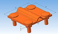 Соединитель прут-полоса для быстрого монтажа алюминиевый толщиной 2 мм.