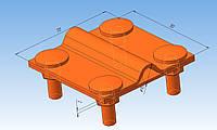 Соединитель прут-полоса для быстрого монтажа алюминиевый толщиной 3 мм.