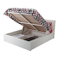 MALM Кровать с подъемным механизмом, белый