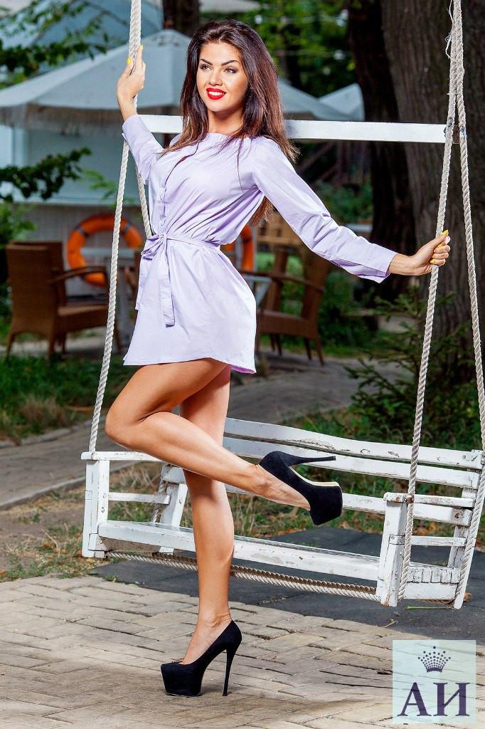 Платья-рубаха нежно-фиолетовый цвет