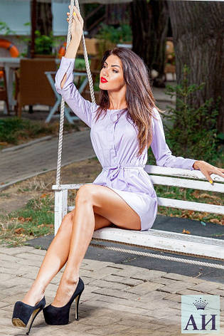 Платья-рубаха нежно-фиолетовый цвет, фото 2