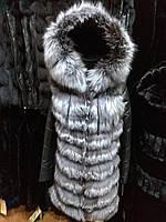 Шубу з чорнобурки з шкіряними рукавами