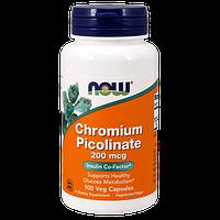 Стабилизатор уровня сахара в крови NOW Chromium Picolinate (200 мкг) (100 капс)
