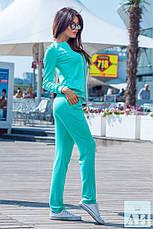 Женский спортивный костюм спереди кофта на змейки, фото 3