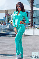 Женский спортивный костюм спереди кофта на змейки