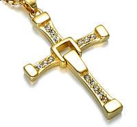 🔝 Крест Доминика Торетто с цепочкой, золотистый, бижутерия кулон с доставкой по Киеву и Украине | 🎁%🚚