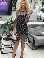 Женское блестящее нарядное облегающее платье с глиттером на сетке