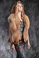 Жилетка из финской длинноворсной рыжей лисы SAGA и натурального дубляжа Тоскана, фото 1