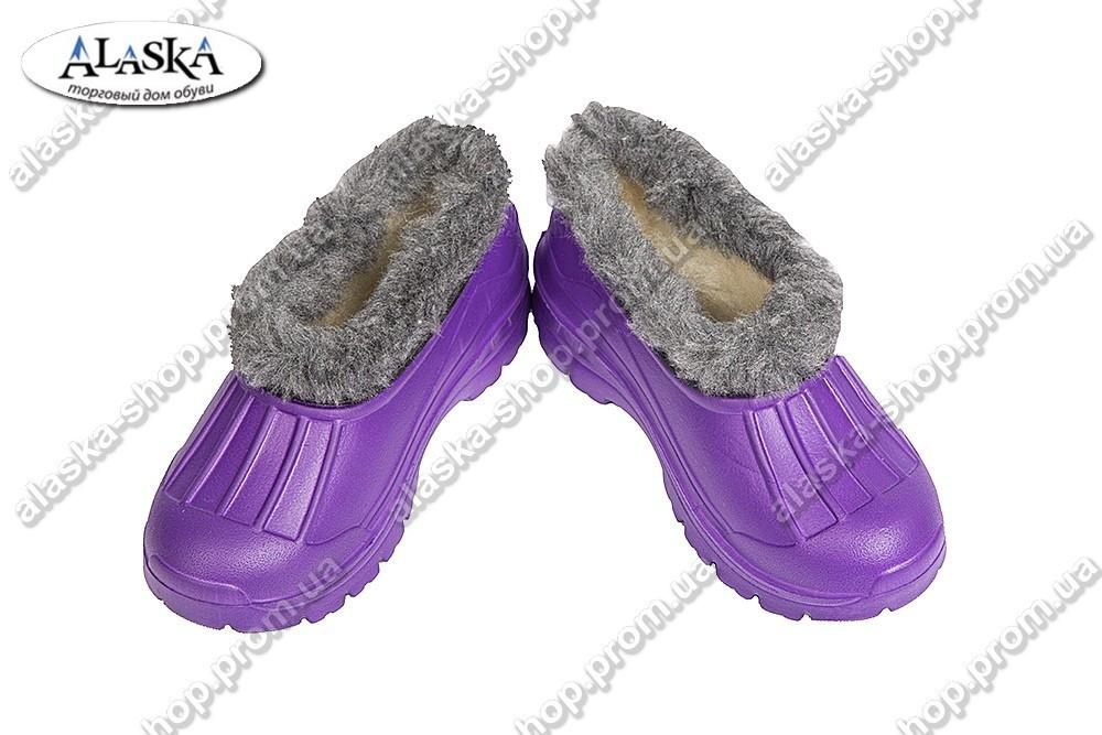 Галоши детские меховые фиолетовые (Код: ТС мех)