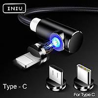 Магнитный Кабель INIU Type-C USB 2.4A Угловой 90 градусов 360 об. для Зарядки на Неодимовых Магнитных Защёлках