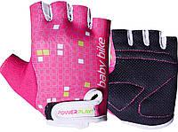 Велоперчатки PowerPlay M Розово-белые 5451MPink-White, КОД: 977440