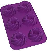 Форма для 6 кексов Hauser Крученный кекс 29х17.5 см Фиолетовый HH-678psg, КОД: 168171